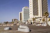 Hotels on the Seashore in Tel-Aviv in sunny day — Stock Photo