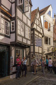 Tourists in Old town of Hanseatic city Bremen,Germany — Stock Photo