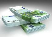 Geld - Stack von Euro-Banknoten — Stockfoto