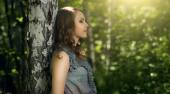 Beautiful girl in fairy forest — Stock Photo