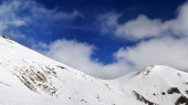 Panorama of mountain pass and off-piste slope — Stock Photo