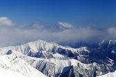 Sunlight snowy mountains — Stok fotoğraf