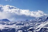 Snowy sunlight plateau at evening — Stock Photo