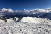 View on off-piste slope and snowy mountains — Stock Photo
