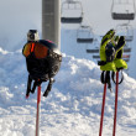 Protective sports equipment on ski poles — Stock Photo #60168007
