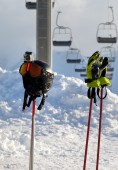 Protective sports equipment on ski poles  — 图库照片