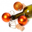 Empty bottle of wine, corks, muselets and Christmas decorations — Stock Photo #60552805