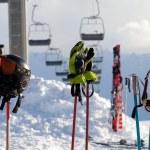 Protective sports equipment on ski poles at ski resort — Stock Photo #60552809