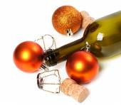 Empty bottle of wine, corks, muselets and Christmas decorations — Foto de Stock