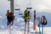 Protective sports equipment on ski poles at ski resort — Stock Photo