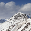 Off-piste slope and chair-lift in little snow year. Panoramic vi — Stock Photo #62546309