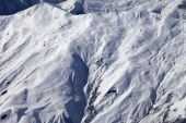 Off-piste slope and paraglider in nice day — Stock Photo