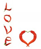 Heart and Love composed of red chili peppers — Stock Photo