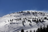 Winter Carpathian Mountains at wind day — Stock Photo