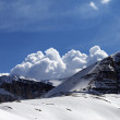 Panoramic view on snow rocks and cloudy blue sky — Stock Photo #72073201