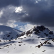 Panoramic view of snow mountains before storm — Stock Photo #72612099