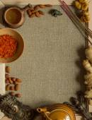 Indian figurines, nuts, saffron and incense with a copy space — Stok fotoğraf