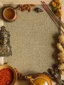 Indian figurines, nuts, saffron and incense with a copy space — Stock Photo