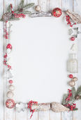 Christmas greeting card in red and white with copy space — Stock Photo