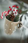 Greeting card with Christmas stuff cup — Stock Photo