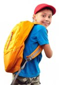 Schoolchild with backpack and a cap — Stock Photo
