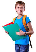 Pupil of grade school with backpack and books — Stock Photo
