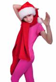 Child with Santa Claus red hat isolated — Stock Photo
