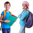 Постер, плакат: Pupils of grade school with backpack and books