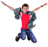 Isolated full length portrait of running jumping boy — Stock Photo