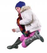 孤立秋肖像的帽子、 围巾、 穿靴子跳的孩子 — 图库照片