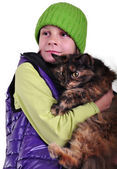 Cute blond girl with a cat — Stock Photo