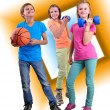 Group of sporty friends with dumbbells and ball — Stock Photo #55560637