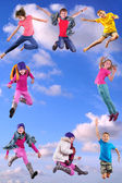 Happy children exercising and jumping in the blue sky — Stockfoto