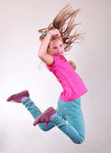 Pretty girl  jumping high — Stock Photo
