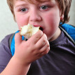 Portrait of schoolboy eating apple — Stock Photo #66937259