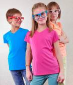 Group of cute kids with eyeglasses — Stock Photo