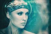 Futuristic female portrait — Stock Photo