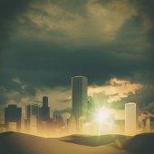 Sunset over big city — Stock Photo