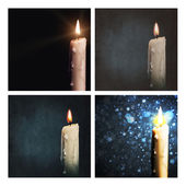 Set of backgrounds with a candle — Stock Photo