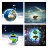 Set of environmental backgrounds — Stock Photo