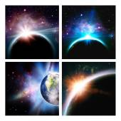 Set of space backgrounds — Stock Photo