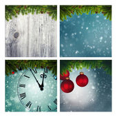 Set of assorted christmas backgrounds — Stockfoto