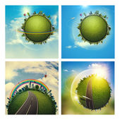 Environmental backgrounds set with Earth globe — Stock Photo