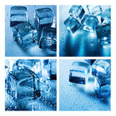 Set of backgrounds with ice cubes — Stock Photo