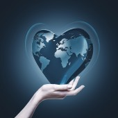 Heart with world map — Stock Photo