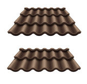 Dark chocolate corrugated tile element of roof — Stock Vector