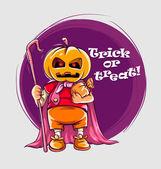 Character in halloween suit of jack-o-lantern — Stock Vector