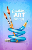 Creative art concept with twisted pencil and brushes for drawing — Stok Vektör