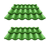 Green corrugated tile element of roof — Vettoriale Stock