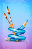 Creative art concept with twisted pencil and brushes for drawing — Stock Vector